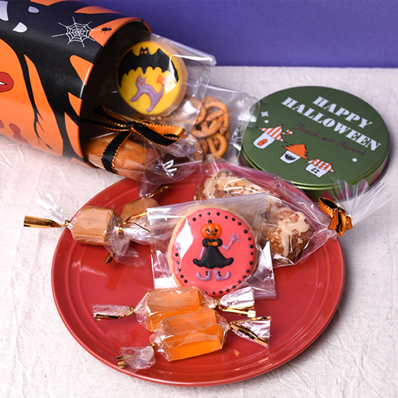 ハロウィン お菓子缶 スマイル お菓子のミカタ