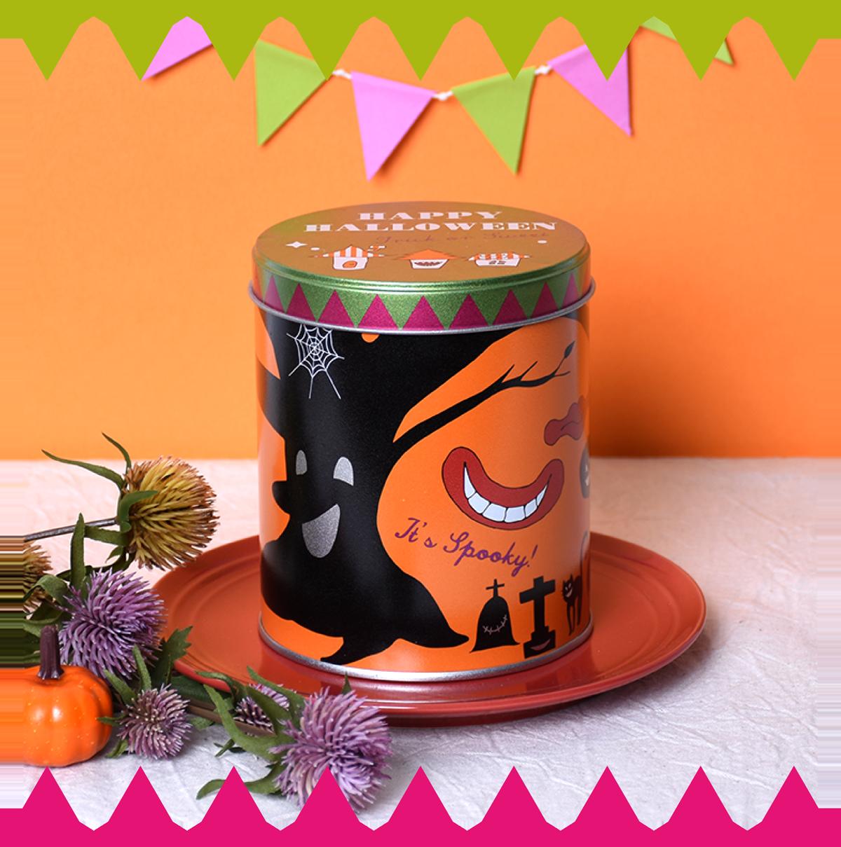 ハロウィン スマイル缶 お菓子缶 お菓子のミカタ